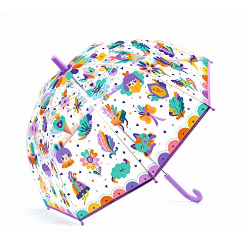 Djeco 04705 Kinder Regenschirm Pop Regenbogen Stockschirm Transparent