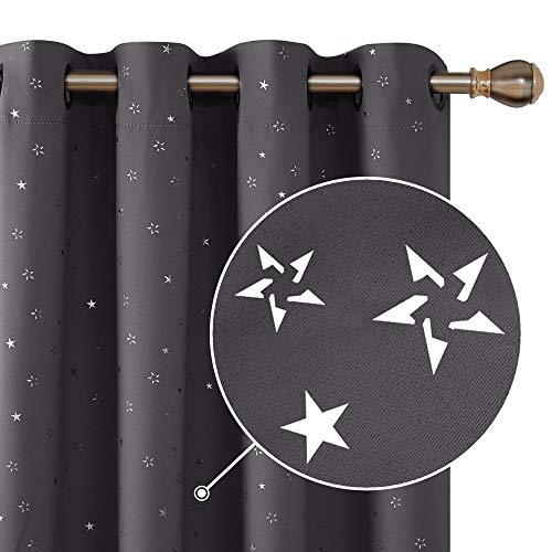 Deconovo Grommet Top Grey Blackout Curtains Star Printed Room Darkening Window Panels Thermal Insulated Curtain Drapes for Nursery Grey 42W x 54L Inches 2 Panels