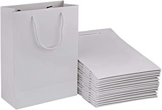 White Paper Bags, Sdootjewelry 50 Pack White Paper Gift Bags Bulk with Cotton Handle, 7.5 x 3.1 x 10.2