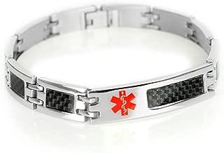 Mens Medical Bracelet Custom Engraving, 316L Carbon Steel Link