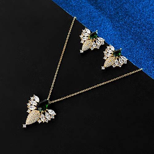 FUKAI Simple Zirconia Collar Pendiente Plata Oro Nupcial Conjunto De Joyas para Mujeres Vestido De Novia Kits De Bisutería