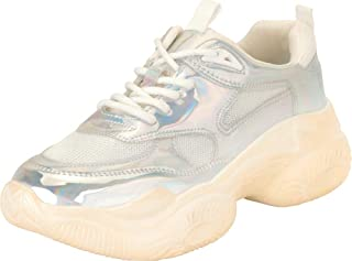 Cambridge Select Women's Retro 90s Ugly Dad Iridescent Lace-Up Chunky Platform Fashion Sneaker