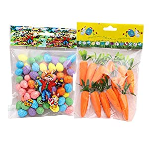12Pcs Easter Artificial Carrots and 92Pcs Easter Eggs, Artificial Vegetables Home Kitchen Festival Decoration, Easter, Photo Prop
