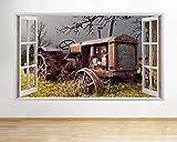 Pegatinas 3D para pared, diseño de tractor de granja antigua, con aspecto de herrumbre, para ventana de campo, vinilo