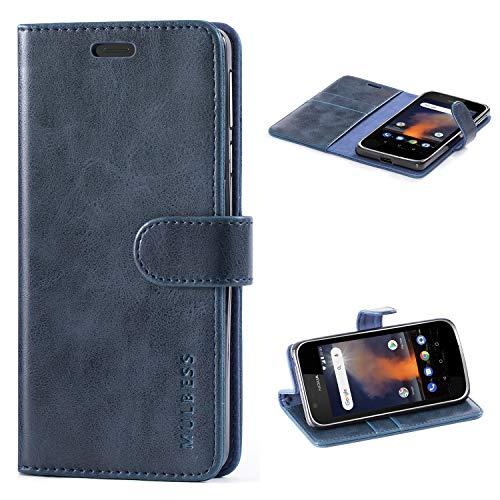 Mulbess Handyhülle für Nokia 1 Plus Hülle Leder, Nokia 1 Plus Handy Hüllen, Vintage Flip Handytasche Schutzhülle für Nokia 1 Plus Hülle, Navy Blau
