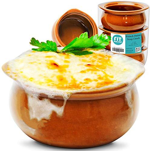 Französische Zwiebel-Suppentopf, 284 ml, Braun, Premium-Keramik-Porzellanschalen, mikrowellengeeignet, für Suppen, Eintöpfe, Chilis, gebackene Bohnen, Mac und Käse, 6 Stück