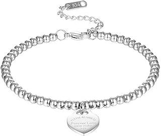 Titanium Steel Forever Love Heart Charm Bead Bracelet 20cm