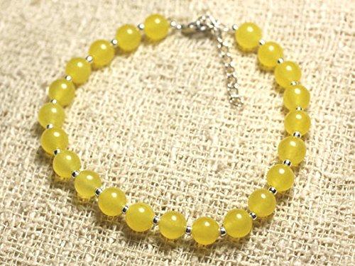LOVEKUSH Pulsera redonda de plata de ley 925 con piedras preciosas para la ansiedad de 6 mm y jade amarillo amarillo amarillo, suave de 7 pulgadas para hombres, mujeres, gf, bf y adultos.