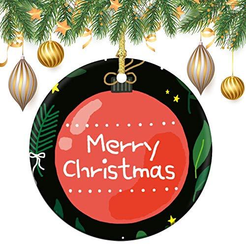 None-brands Ornamento monograma de corona de adorno de árbol de Navidad personalizado 2020 adorno de bola de Navidad, regalo de Navidad, regalo de Navidad, recuerdo plano redondo