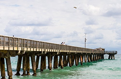 Posterazzi Poster Print Collection Fishing Pier At Pompano Beach Broward County Florida USA Panoramic Images, (36 x 24), Multicolored -  PPI175364LARGE