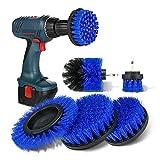 safetyon set di spazzole per trapano 5 pezzi, spazzola rotante pulizia delle setole da 2 / 3,5'' / 4'' / 5'' / 5,5'', spazzole pulizia per trapano elettrico, strumenti per pulizia auto bagno, blu