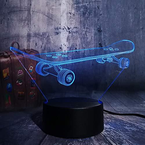 jiushixw 3D acryl nachtlampje met afstandsbediening van kleur veranderende tafellamp Roman Cool Skate Multi kind baby nacht rood Oriental tafellamp perzik
