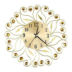 Pinleg Wall Clock, Wrought Iron Diamond Fashion Wall Clock Bedroom Silent Metal Clock Decor Flower Inlaid Wall Clock for Rooms Coffee Shop Hall Gifts Crafts Home Decoration (Gold)