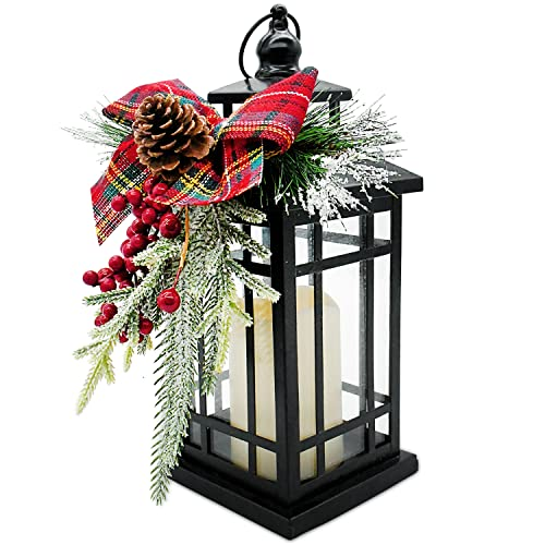 Christmas Decorative Lantern w/LED Flickering Flameless Candle - 14 Inch, Antiqued Vintage Lantern with Xmas Ornament for Outside Indoor Table Holiday Party Decorations
