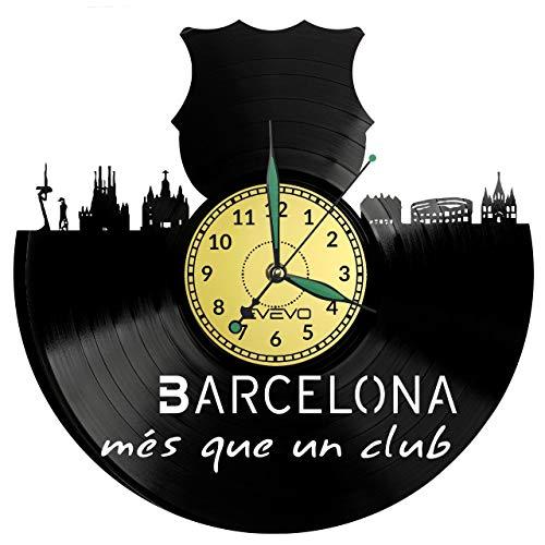 FC Barcelona - Reloj de pared con disco de vinilo, diseño retro, gran reloj, estilo sala de estar, decoración del hogar, gran regalo para amigo, hombre, vinilo, decoración del hogar, pared inspiradora