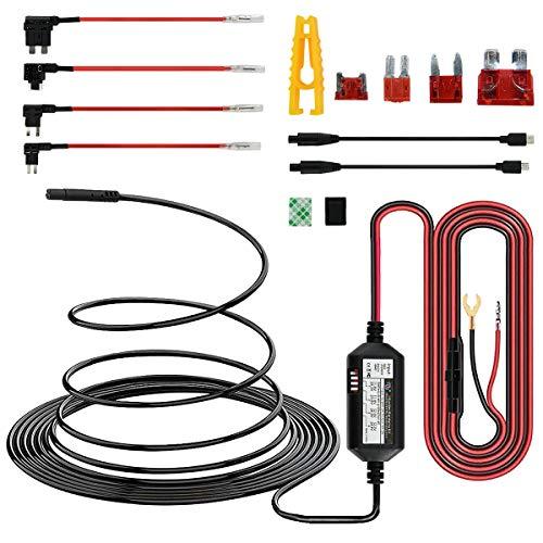 15ft Mini USB & Micro USB Dash Cam Hardwire Kit w. Mini(ACS)/LP Mini(ACN)/ATO(ATC or ACU)/Micro2(ACZ) Fuses, 5V/2A Output & 4 Adjustable Cutoff Voltages