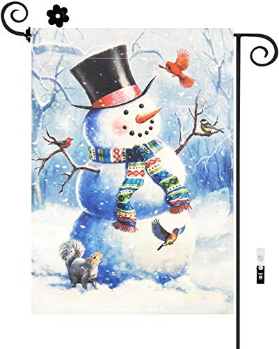 HILUCK Welcome Snowman Home Garden Flag, Christmas Cheer with Bird Squirrel Decoration, Burlap Vertical Double Sided for Winter Merry Christ Yard Celebration Banner in Lawn Outdoor 12 x 18 inch