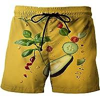 YNYEZBH 黄色い底の野菜の幾何学的な夏の3Dショーツ学生スポーツ速乾性パンツカップルビーチスイミングショーツ