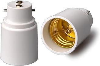 B22 to E27 Light Socket Adapter, B22 to E27 Bulb Adapter, Bayonet Base to E27 Lamp Holder Converter, CE Rohs (2-Pack)