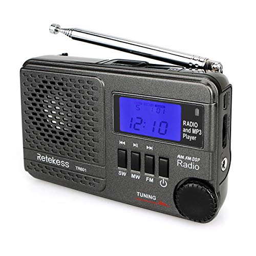 Retekess TR601 Portable Shortwave Radios with Best Reception, AM FM Radio Battery Operated, DSP Radio MP3 Player Support TF and USB Port (Black)