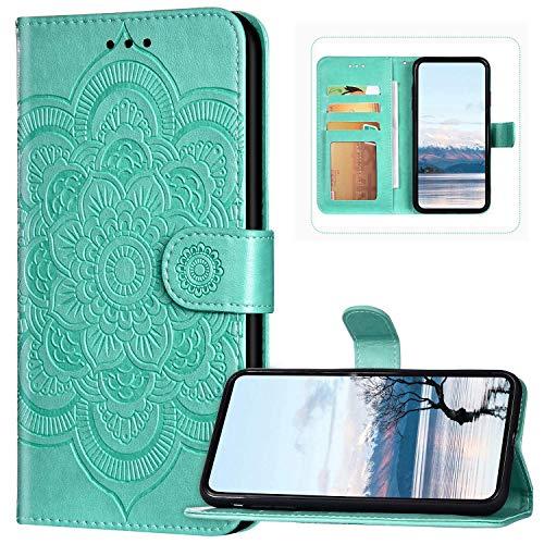 Bling Diamonds - Funda tipo cartera para teléfono Xiaomi Mi 10 Lite, diseño de flores de mandala, color verde