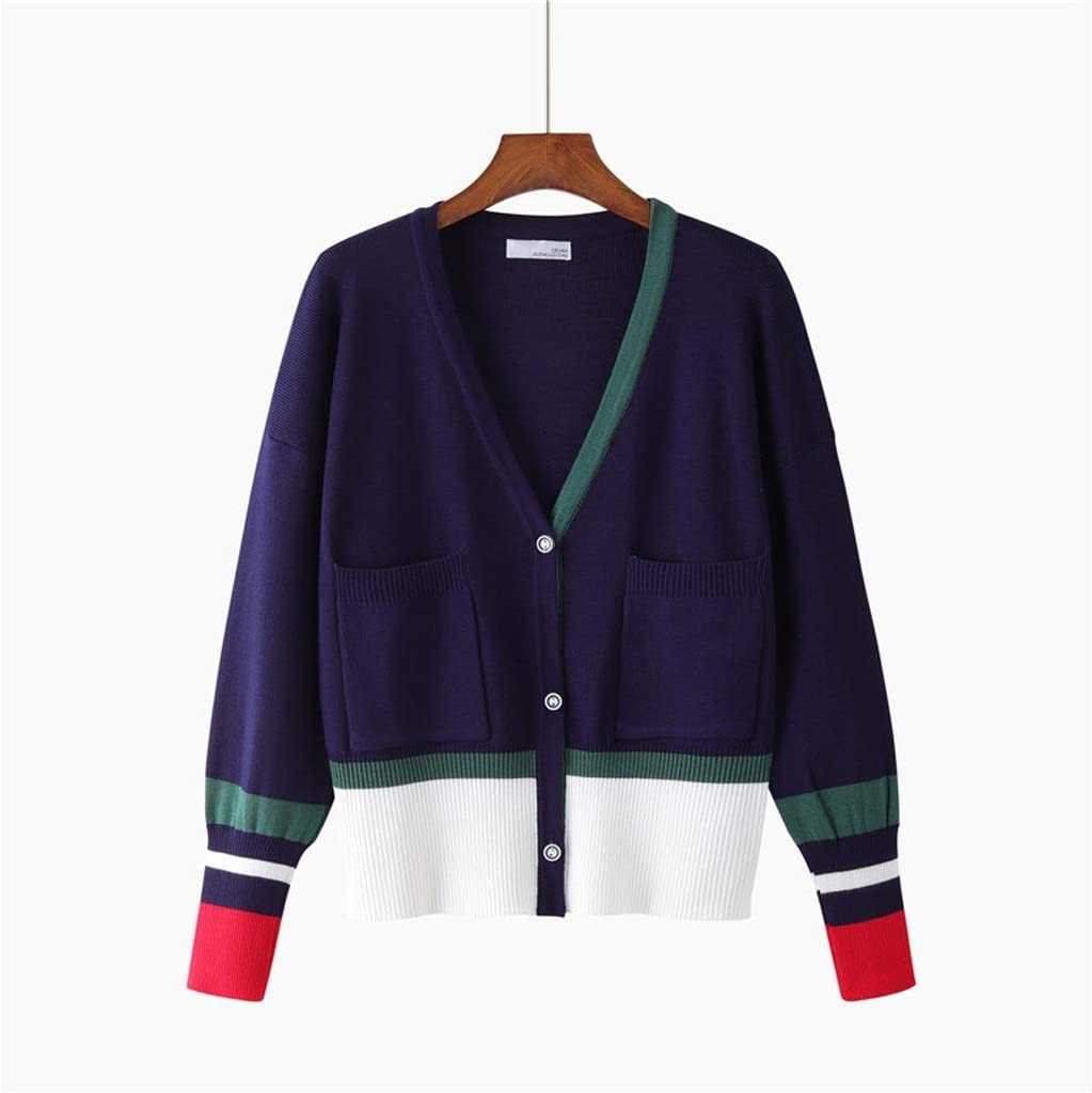 ZYING Fashion Cardigan Long Sleeve Single Breasted Contrast Color Button Knitted Sweaters (Color : Blue)