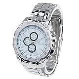 ALISUO MYDD AYSMG Round Dial 3 Diales de decoración Relojes de Cuarzo con Banda de Metal (Negro) (Color : White)
