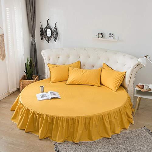 Falda de Cama de algodón, Cama Redonda, sábana, Funda Protectora de colchón, sábana de algodón Redonda, 2,0 Metros, 2,2 Metros, Ropa de Cama de jardín Una Falda de Cama Amarilla 2,0 m de diámetro