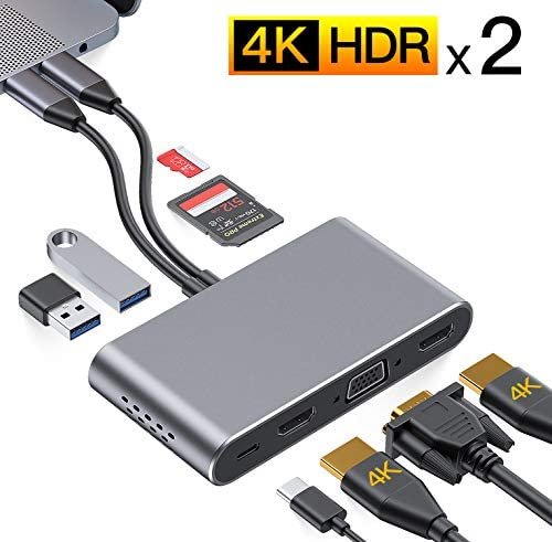 USB C Hub GIKERSY 8 in 2 USB C Adapter Docking Station with Dual 4K HDMI VGA Compatible with product image