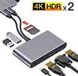USB C Hub,8-in-2 USB C Adapter Docking Station with Dual HDMI 4K,VGA Compatible with MacBook Pro 2020-2016 13/15/16',MacBook Air 2020-2018,USB 3.0/2.0,100W Power Delivery,SD/Micro SD Card Reader