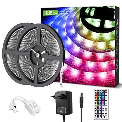 LE LED Strip, LED Streifen 10m(2x5m), IP65 wasserdicht Lichterkette, RGB Band, LED Leiste, selbstklebende Lichtleiste, flexibel LED Bänder, Lichtband Bunt Dimmbar