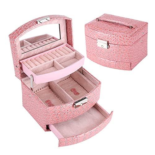 Mizuho Caja de joyería de Cuero PU Portátil Packaging Maquillaje Organizador Cajas de Almacenamiento Contenedor automático Caja de Caja Mujeres Cesma Cesmetic Regalo (Color : Pink)