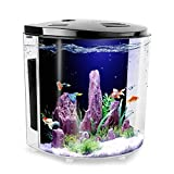 1.4Gallon Half Moon Small Betta Aquarium Fish Tank with LED Light and Filter Pump