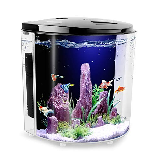 FREESEA 1.4 Gallon Half Moon Betta Aquarium Fish Tank with LED Light