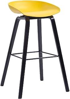 YUMUO Taburetes de Bar Asiento de Madera PP Taburetes Altos con reposapiés de Metal Silla con reposapiés Sillas de Desayuno para el hogar Bar de Cocina J1129 (Color: Azul, tamaño: Altura 73 cm)