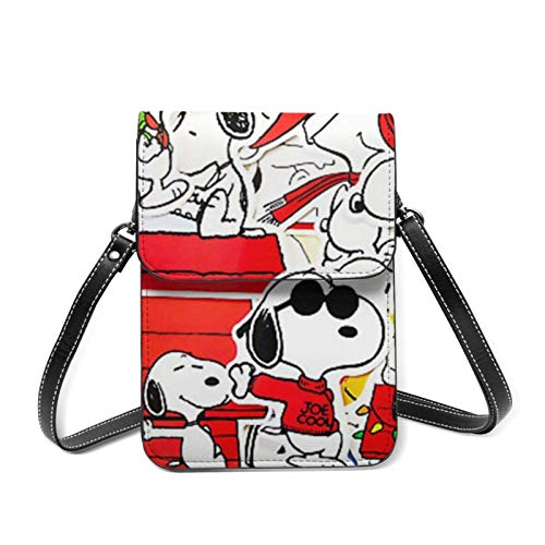 XCNGG bolso del teléfono S-noopy Woodst-ock P-eanuts Fanart Women Lightweight Leather Phone Purse, Small Crossbody Bag Mini Cell Phone Pouch Shoulder Bag,Wallet Purse