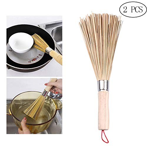 ZPFDM Bambus Wok Pinsel, Gemüsepfanne Bratpfannenreinigung, Teeservice Reinigung, Geeignet für Topf, Pfanne, Bratpfanne, Reinigung Sonstige Haushaltsreinigung, 2St