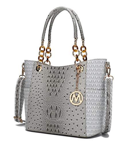 Mia K Collection Shoulder Bag for Women, PU Leather Pocketbook Top-Handle Crossbody Purse Tote Satchel Handbag White