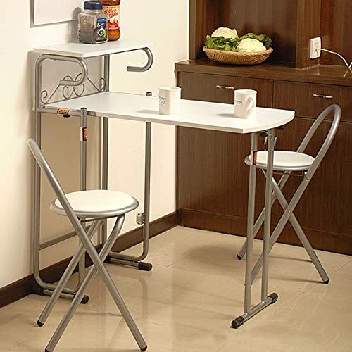 Juego de comedor con estante, mesa de comedor plegable, 2 sillas, mesa de comedor, mesa de acero MDF, para comedor, cocina, balcón, salón, color gris y blanco