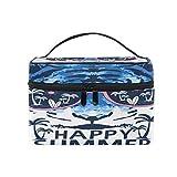 Pixiuxiu - Bolsa de maquillaje, diseño de tigre tropical, playa, verano, cosméticos, bolsa de viaje, con compartimentos para adolescentes y mujeres