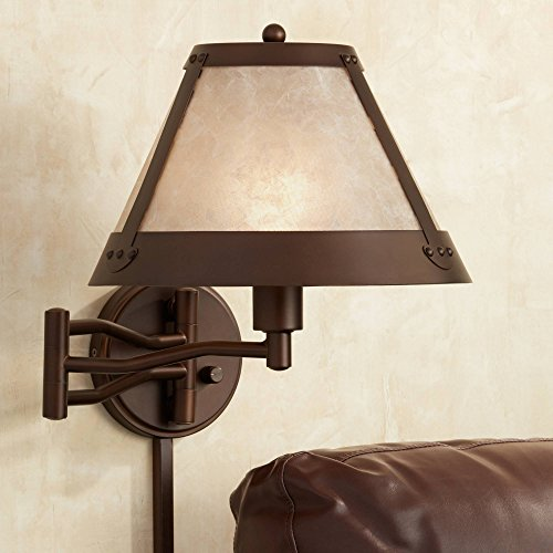 Samuel Rustic Mission Swing Arm Wall Lamp Industrial Bronze Plug-in Light Fixture Natural Blonde Mica Mineral Shade for Bedroom Bedside House Reading Living Room Home Dining - Franklin Iron Works