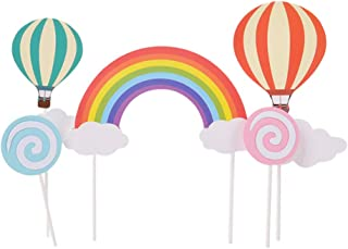BESTONZON 9-pack Colorful Baby Shower Cupcake Toppers Picks, Glitter Rainbow Balloon Cloud Lollipop Lollipop Cake Toppers, Wedding Birthday Party Favor Decoration Kit