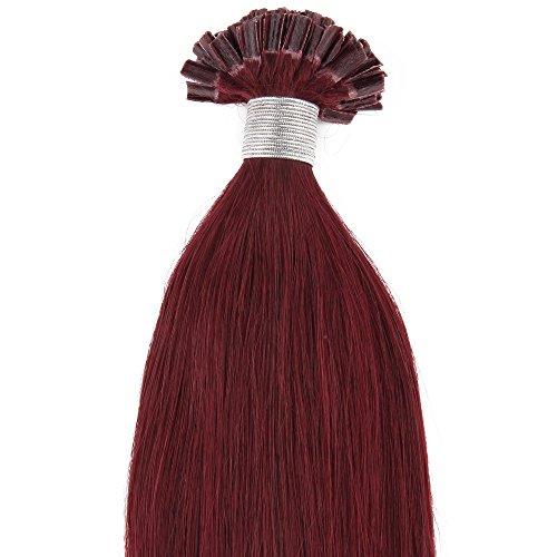 Beauty7 100 Extension de Cheveux Humain Naturel Utips Pose a Chaud Raides/Droits/Lisse 100% Remy Hair Poids 50g - 0.5g/meche - 20inch (50cm) - Couleur Rouge Vin #99