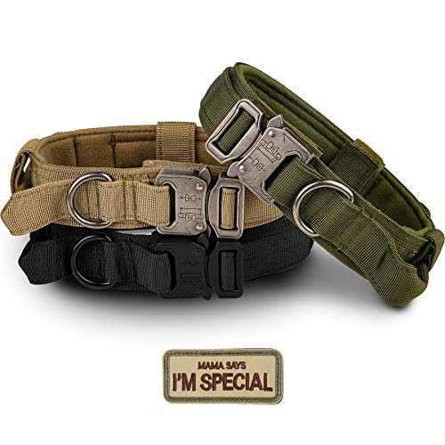 Tactical Dog Collar - KCUCOP Military Dog Collar with Mama Says I m Special Patch Thick with Handle K9 Collar Tactipup Dog Collars Adjustable Heavy Duty Metal Buckle for M,L,XL Dogs(Black,XL)