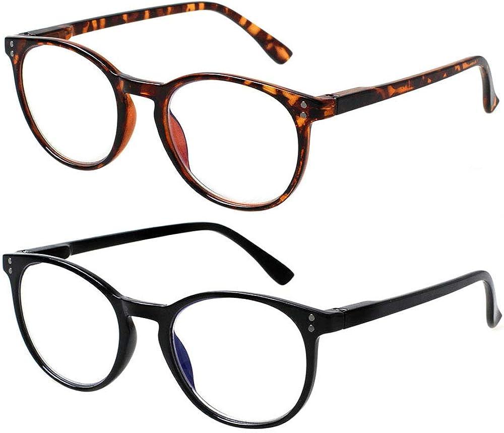 Computer Reading Glasses 2 Pack Blue Light Blocking Glasses Anti Eyestrain Readers for Women Men