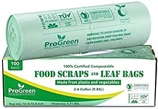 ProGreen 100% Compostable Bags 2.6 Gallon, Extra Thick 0.71 Mil, 100 Count, Small Kitchen Trash Bags, Food Scraps Yard Was...