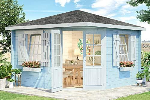 Alpholz 5-Eck Gartenhaus Monica Royal aus Massiv-Holz, Blockbohlenhaus mit 40 mm Wandstärke, Holzhaus mit Imprägnierung (pinie) | Garten Laube 350 x 350 cm | Spitzdach
