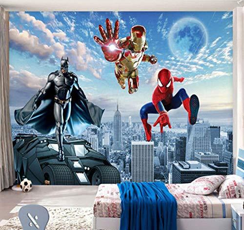 muurschildering op maat 3D niet-geweven stof milieuvriendelijk en duurzaam behang muursticker-verschillende dimensie helden vliegen in de lucht 200(w)x140(H)cm