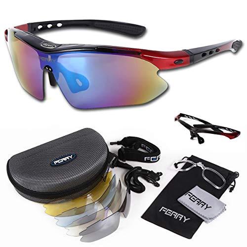 (フェリー)FERRYスポーツサングラスミラーレンズフルセット専用交換レンズ5枚ユニセックスブラック/レッド