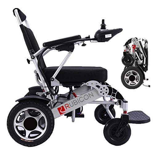 ComfyGO Electric Power Wheelchair Scooter Fold & Travel Lightweight Folding Safe Electric Wheelchair Motorized FDA Approved Aviation Travel Heavy Duty Power Wheelchair (Silver)